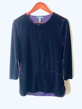 Ralph Lauren Women's Large Sweater Purple Velvety Long Sleeves Polyester Spandex