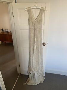 Antique Lace Cream / Champagne Wedding Dress With Silk Slip Underlay