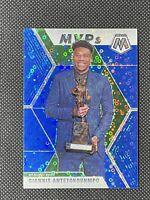 2019-20 Panini Mosaic Giannis Antetokounmpo MVP Blue Disco 09/85 Bucks SP #297