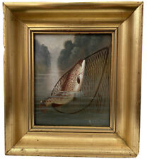 "ANTIQUE SIGNED ""A. ROLAND KNIGHT"" TROUT FISH IN NET RIVER FISHING OIL PAINTING"