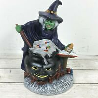 Vintage Halloween Witch Light Mold Ceramic With Cauldron Spell Book RARE!!!