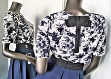 NWT-ESSENTIEL ANTWERP ITANK BLUE IVORY EXPOSED ZIP BLACK BOW BLOUSE S/34 MSP$182