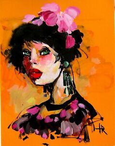 Original gouache QICK SKEITCH GIRL design illustration wall art decor Tania