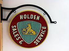 HOLDEN SALES & SERVICE LARGE 600MM DIAMETER HEAVY DUTY SIGN ON HD FLANGE HANGER