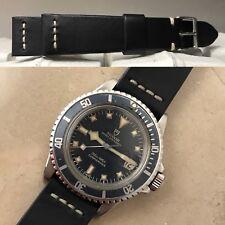 handmade watch strap genuine black leather width 20mm for vintage 145.022 9411/0