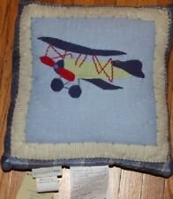 NEW Pottery Barn Kids Vintage PLANE Decorative PILLOW Airplane throw 12x12""