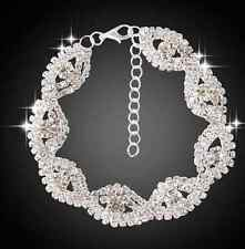 Elegant Deluxe Women Crystal Rhinestone Infinity Bangle Chain Bracelet Jewelry
