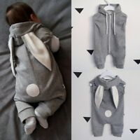 Newborn Girls Boys Long Rabbit Ear Cartoon Kawaii Romper Jumpsuit Baby Outfits