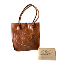Patricia Nash Waxed Tooled Scalloped Perforated Brown Cavo Tote