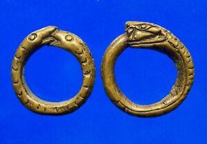 Antique 2 Ring Snake Eat Snake Thai Amulet Magic Power Luck Love Infinity