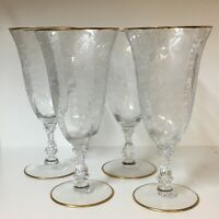 CAMBRIDGE WILDFLOWER ETCH GOLD TRIMMED ~ SET OF 4 FOOTED ICE TEA GLASSES