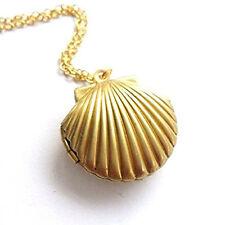 Women Fashion Golden Tone Seashell Locket Pendant Long Chain Necklace Adroit