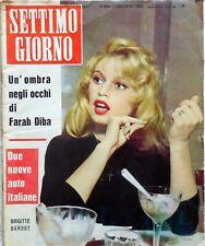 RIVISTA SETTIMO GIORNO N.43 1960 BRIGITTE BARDOT PASOLINI