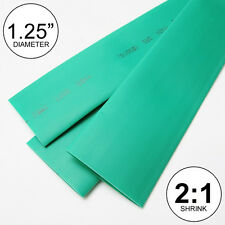 "1.25"" ID Green Heat Shrink Tubing 2:1 ratio 1-1/4"" wrap (2 feet) inch/ft/to 30mm"