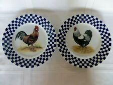 "2 WILLIAMS SONOMA Rooster/ Hen 8 1/4"" Dessert PLATES Blue Checkered Rim JAPAN"