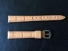 2 pcs Women Genuine Leather Padded Alligator Grain 12mm Orange Watch Strap Band