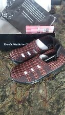New Ladies Wedge Shoe slip on casual woven stretch pump brown sparkle 8 comfort