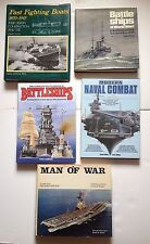 Lot 5 LARGE Naval Military History books: Battleships Submarines Navy Boats WWI.