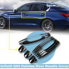 Carbon Fiber For Infiniti Q50 Sedan 4 Door 12pcs Outside Handle Cover Trim 18