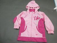 Nike Size 4 Girls Pink Full Zip Hooded Lined Windbreaker Jacket 954
