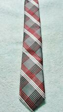 EXPRESS STRIPES  NECK TIE    RED GRAY WHITE  100% SILK  FREE SHIPPING