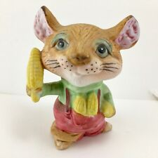 Homco Mouse in Red Overalls with Corn Porcelain Figurine 5601