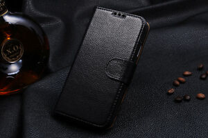 Genuine Cowhide Leather Wallet Flip Case for Samsung Galaxy S4 i9500 with Stand