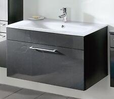 Waschplatz anthrazit Badezimmermöbel Waschbecken Unterschrank Bad Woody 13-00473
