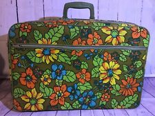 "Vintage Suitcase Travel Wear 1960'S Floral Canvas Suit Case Luggage - 20"" X 13"""