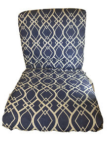 """Mainstay Outdoor Patio Chair Seat Cover Cushion Navy Blue 20Wx43Lx3.5""""H Diamonds"""