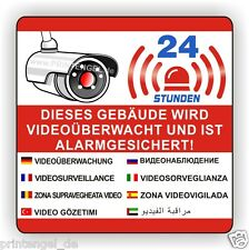 Aufkleber,Dieses Gebäude wird Videoüberwacht und ist Alarmgesichert ,90X90mmVA14