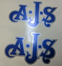 AJS London Stickers x2 A.J.S Decals Logo Tank Motorcycle Vintage Blue & Silver B