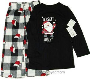 Boys Christmas Pajamas Let Get Jolly 2 pc Top Bottom Santa Girls Flame Resistant