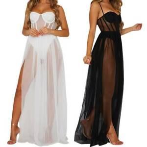 Women Sheer See Through Slit Maxi Dress Sexy Lingerie Mesh Long Dresses Party