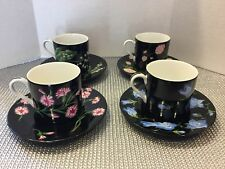 TIFFANY & CO. Mrs Delany's Flowers 4 Demitasse Cups & Saucers by Sybil Connolly