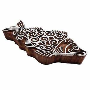Hand Carved Wooden Block Textile Print Stamps Fish Pattern Printing Blocks