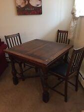 Antique Oak Drawleaf English Pub Table Including 4 Original Antique Oak Chairs