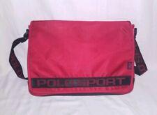"""Vtg Ralph Lauren Polo Sport Red Spell Out Messenger Crossbody Shoulder Bag 15"""""""