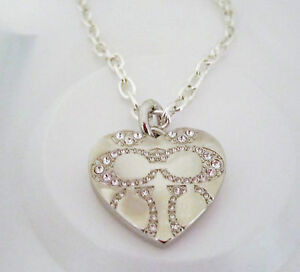 COACH HEART LOCKET NECKLACE on CHAIN with SWAROVSKI CRYSTALS  SIGNED