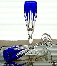 Pair Faberge Lausanne Flutes Glasses, Cobalt Blue Cased Crystal, Signed