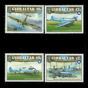 Gibraltar 2011 - Airplanes 75th Anniv of the Spitfire Aviation - Sc 1296/9 MNH