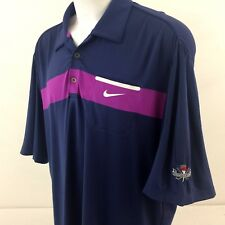Nike Dri-Fit Mens Golf Shirt XL Blue Strawberry Farms Welt Pocket 100% Polyester