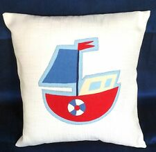 Stunning White red blue Boat nautical Cotton cushion covers   sea  16'' 40cm  BN