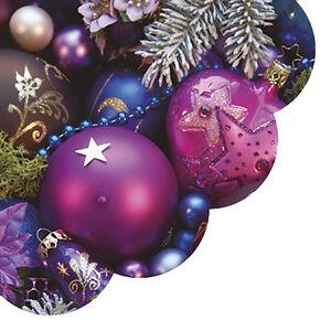 Christmas Paper Round Napkins 24 pcs ∅12.6″ Purple, VIOLET BAUBLES