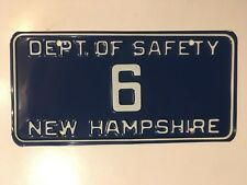 New Hampshire Safety Department License Plate State Police Trooper LOW NUMBER #6