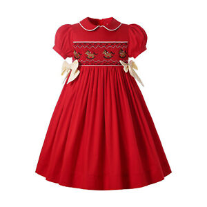 Pettigirl Girl Red Smocked Dress 2 3 4t Size 5 6 8 10 12 Christmas Party Clothes