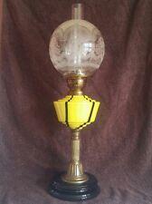 SPLENDIDA ANTICA LAMPADA OLIO DI IN VETRO GIALLO CON DUPLEX vetro inciso all'ombra Globe