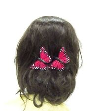 2 x Red White Black Butterfly Hair Clips Bridesmaid Womens Girls Festival 2852