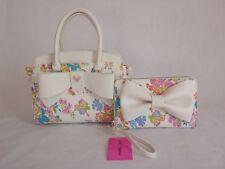 Betsey Johnson TRIPLE COMPT SATCHEL and Travel Wristlet WALLET SET, White Floral