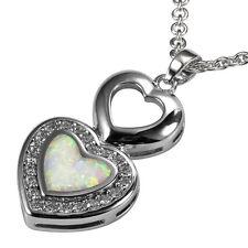 Heart White Topaz White Fire Opal Gemstone 925 Silver Pendant P222